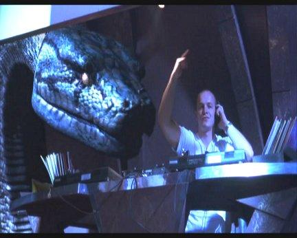 Giant snake eating DJ